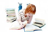 stock photo of girl reading book  - young girl read the book on white - JPG
