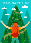 Cartoon Traveler With A Large Backpack Looking At The Mountain. The Mountains Are Calling Title. Bac poster