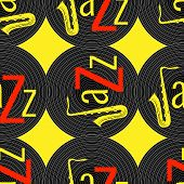 Jazz Concept. Vinyl Record And The Word Jazz. Letter J - Saxophone. Seamless Pattern. Red, Black And poster