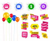 Balloons Party. Sales Banners. Business Icons. Graph Chart And Case Signs. Dollar Currency And Gear  poster