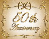 stock photo of 50th  - 3D Illustrated design for 50th wedding Anniversary card or invitation - JPG