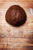 Fresh And Raw Cookie Dough Ball With Chocolate Or Cocoa, Flatlay For Bakery Goods, Copyspace poster