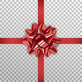 Red Gift Bow. Realistic Red Ribbon Bow For Xmas And New Year poster