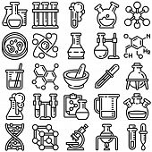 Chemistry Icon Set. Outline Set Of Chemistry Vector Icons For Web Design Isolated On White Backgroun poster