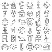 Energy Saving Icon Set. Outline Set Of Energy Saving Vector Icons For Web Design Isolated On White B poster