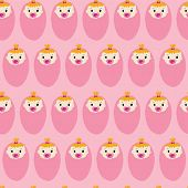 Baby Girl Seamless Repeat Vector Pattern. Newborn Babies With Pacifiers On Pink Background. For Baby poster