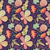 Autumn Leaves Floral Seamless Pattern. Vibrant Leaves On Blue Background. Falling Leaf Crayon Handdr poster