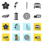 Vector Design Of Auto And Part Symbol. Set Of Auto And Car Stock Symbol For Web. poster
