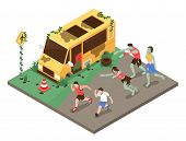 Isometric Zombie Apocalypse Composition With Group Of Zombies Pursueing Healthy People In Front Of B poster