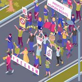 Protesting People With Placards And Flags During Street Procession In Protection Human Rights Isomet poster