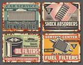 Car Repair Service Retro Cards Covered With Rust. Cabin Air And Fuel Or Oil Filters, Shock Absorbers poster