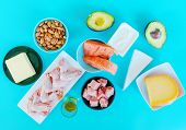 Ketogenic diet food. Low-carb food background, fish, meat, cheese, nuts, oil and butter on a blue ba poster