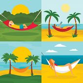 Rest Hammock Banner Set. Flat Illustration Of Rest Hammock Banner Set For Web Design poster