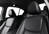 Modern Luxury Car Black Leather Interior. Part Of Leather Car Seat Details With Stitching. Interior  poster