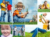stock photo of assemblage  - happy family outdoors assembling frame - JPG