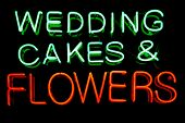 foto of matron  - Wedding cakes and flowers neon sign - JPG