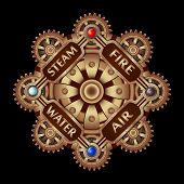 Composition In Stipmank Style Round With Brass Gears On A Black Background. poster