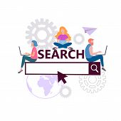 Online Search Concept, Search Engine Optimization, Seo Internet Marketing, Teamwork. Vector Illustra poster