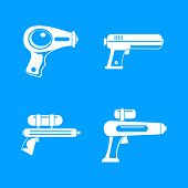 Squirt Gun Water Pistol Game Icons Set. Simple Illustration Of 4 Squirt Gun Water Pistol Game Icons  poster