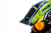 picture of moto-x  - close up portrait of racer in helmet over white - JPG