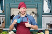 Man Chef Hold Mug Drink Beverage. Great Taste. Chef Prepared Delicious Hot Beverage. Beverage Drink  poster