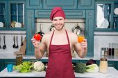 Culinary Recipe With Pepper. Vegetarian Cuisine Ingredient. Man Chef Wear Apron Cooking In Kitchen.  poster