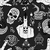 Magician Fingers, Fuck You Symbol, Skull And Mysterious Objects. Seamless Pattern. Esoteric, Occult  poster