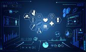 Abstract Health Medical Ui Futuristic Hud Interface Hologram Science Healthcare Icon Digital Technol poster