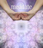 Meditation Message Background - Female Hands Shaped In Amida Buddha Samahita Mudra Hand Position Wit poster