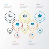 Climate Icons Colored Line Set With Sunlight, Tempest, Raindrop And Other Rainbow Elements. Isolated poster