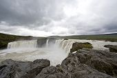 The Godafoss Waterfall in Iceland is one of Iceland's most spectacular waterfalls. The water of the