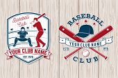 Set Of Baseball Or Softball Club Badge. Vector Illustration. Concept For Shirt Or Logo, Print, Stamp poster