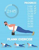 Fitness Man Doing Planking Exercise. Planksgiving Challenge Banner. Athlete Standing In Plank Positi poster