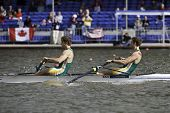 AMSTERDAM-JULY 23: Hung and Brittain (South African Men's Pair)  finish first in the semi-finals of