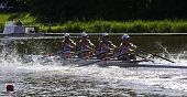 AMSTERDAM-JULY 22: Imfeld, Schiro, Imsdahl and Robinson (USA Women's Quadruple sculls) starting at t