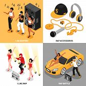 Rap 2x2 Design Concept Set Of Singing Rappers Music Accessories Rap Battle And Fans Square Compositi poster
