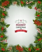 Christmas Background With Fir Branch Borders And Decorative Elements.christmas Border With Trees, Be poster