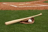 stock photo of baseball bat  - Baseball bat and ball - JPG