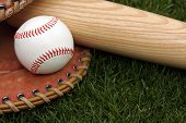 stock photo of baseball bat  - Baseball glove - JPG