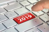 Keyboard With Text Happy 2019 And Finger Pushing The Enter Button. Color Button On The Gray Silver K poster