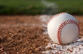 stock photo of infield  - Baseball in the infield near the chalk line - JPG