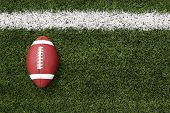 stock photo of football field  - American Football on the Field with room for copy - JPG
