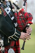 pic of bagpiper  - Scottish Bag Piper wearing traditional dress of rich tartan - JPG