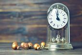 New Year Countdown. Midnight Clock And Golden Christmas Balls poster