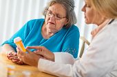 Female Doctor Talking with Senior Adult Woman About Medicine Prescription. poster
