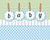 image of happy baby boy  - Baby boy arrival announcement card - JPG