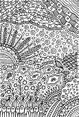 Doodle Landscape - Coloring Page For Adults. Fantastic Psychedel poster