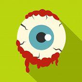 Zombie Eyeball Icon. Flat Illustration Of Zombie Eyeball Icon For Web Isolated On Lime Background poster