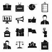 Election Voting Icons Set. Simple Illustration Of 16 Election Voting Icons For Web poster