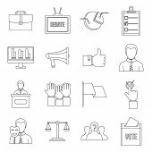 Election Voting Icons Set. Outline Illustration Of 16 Election Voting Icons For Web poster